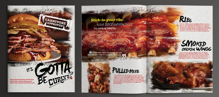 A three-page foodservice advertisement that reads Gotta Be Curly's to promote the Smithfield brand's range of barbecue offerings.