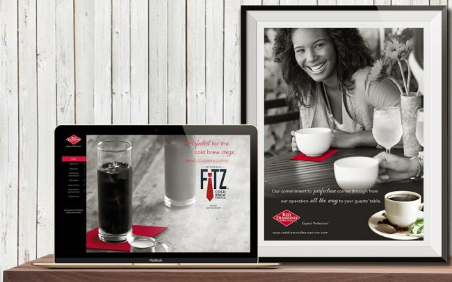 Ad materials created by Foodmix for Red Diamond including a digital ad on a laptop screen and an ad reading Expect Perfection
