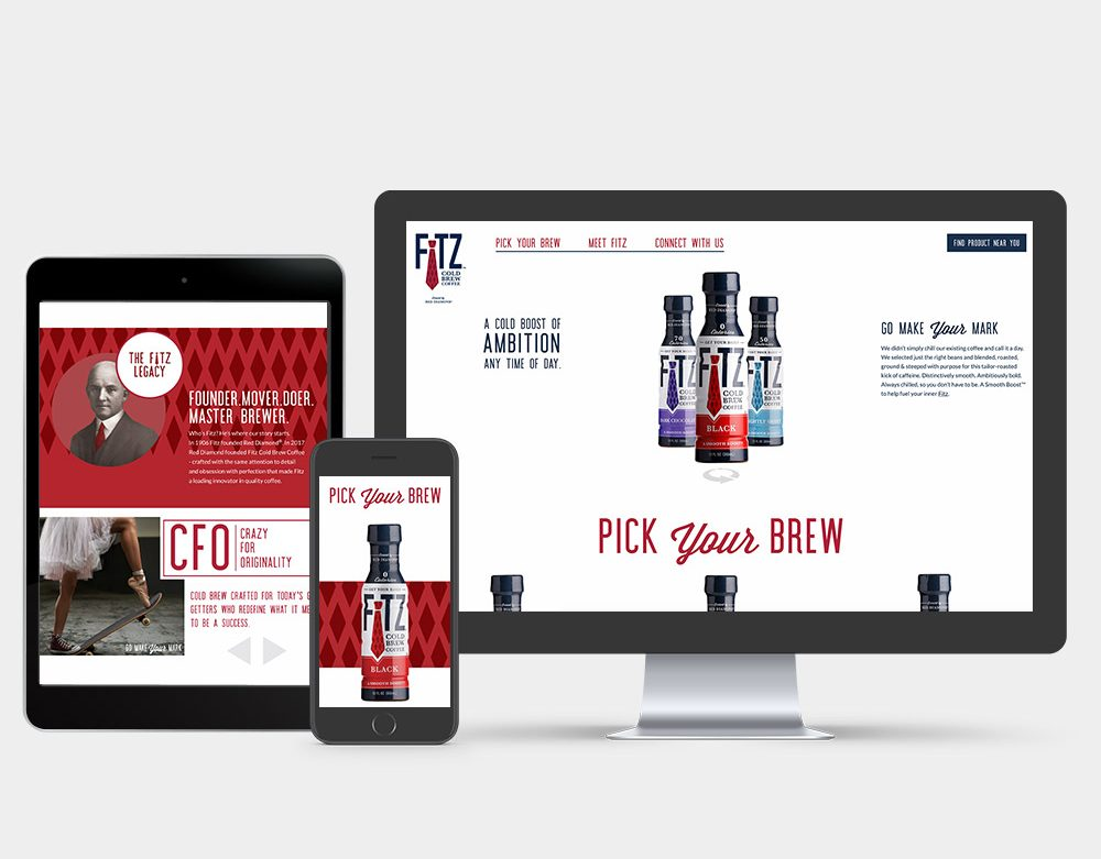 An iphone and an imac. On each of their screens are bottles of Fitz Cold Brew coffee. The screen of an iPad shows the Fitz website.