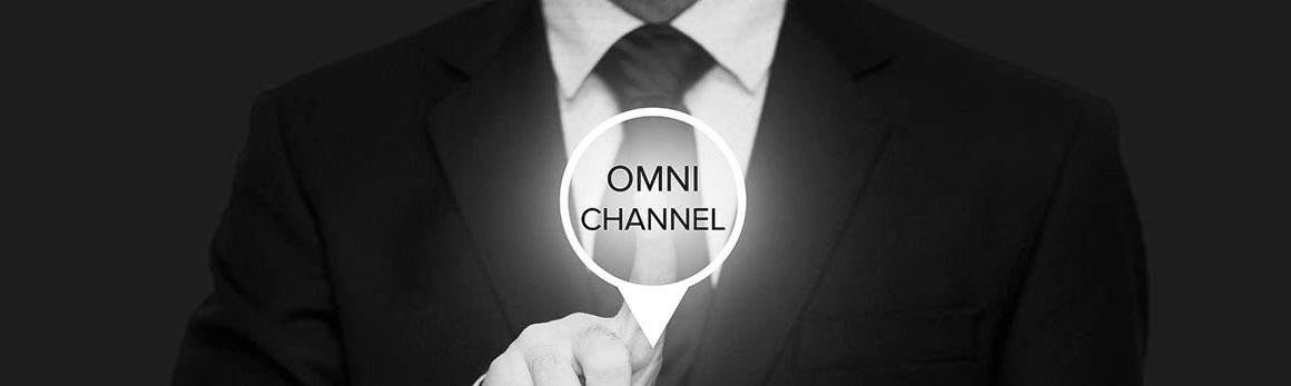 A graphic button that reads Omni Channel as it is being pushed from behind by a man in a suit.